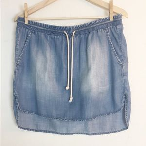 Cloth & Stone Denim High Low Skirt Rope Tie Anthro
